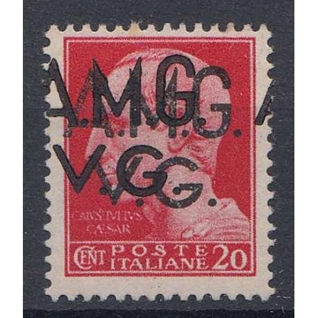 VENEZIA GIULIA 1945-47 20 C DOPPIA SOPR. EVANESCENTE E SPOSTATA (4hg-4e) G.O MH* Occupazioni francobolli filatelia stamps