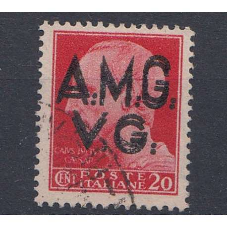 VENEZIA GIULIA 1945-47 20 C DOPPIA SOPRASTAMPA US. Occupazioni francobolli filatelia stamps