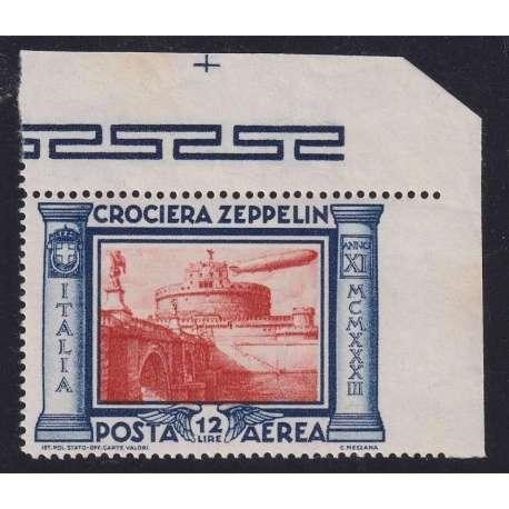 REGNO D'ITALIA 1933 CROCIERA ZEPPELIN 12 L. VARIETA' N.48a G.I MNH** CERT.