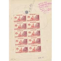 1946 UNNRA 100 l. n6 RARISSIMA PROVA STAMPA MINIFOGLIO DI 10 ES. CERTIFICATO San Marino francobolli filatelia stamps