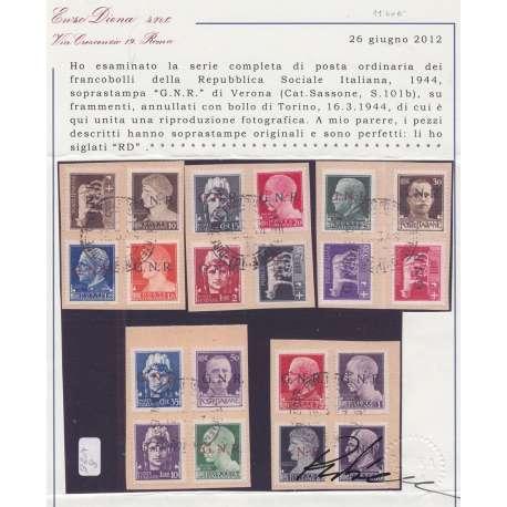 1944 R.S.I. G.N.R. VERONA 20 V. S.101b SU FRAMMENTI CERTIFICATO US. R.S.I. e Luogotenenza francobolli filatelia stamps