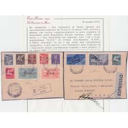 1944 R.S.I. G.N.R. VERONA S.1521-S.1804 SU 2 FRAMMENTI CERTIFICATO US. R.S.I. e Luogotenenza francobolli filatelia stamps