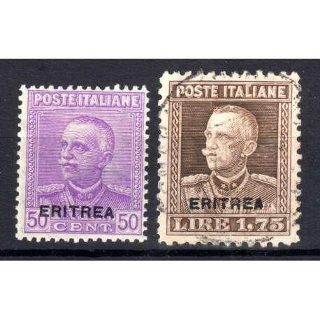 1928-29 ERITREA V.E.III SOPRASTAMPATI 2 V. S.31 G.O. MH*/US. Colonie francobolli filatelia stamps