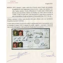 1859 SICILIA 5 gr. X2 IN FRODE POSTALE + 1 gr. X2 SU BUSTA CERTIFICATO RARA Sicilia francobolli filatelia stamps