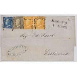 1859 SICILIA TRICOLORE 1/2 gr. COPPIA +1 gr. + 2 gr. SU BUSTA CERT. RARISSIMA Sicilia francobolli filatelia stamps