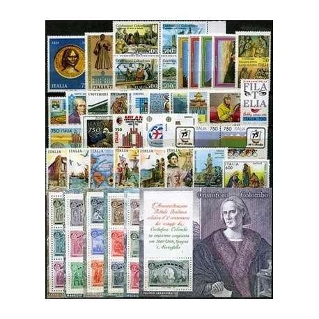 1992 REPUBBLICA ANNATA COMPLETA 38 V.+ B.F.+ L.I.B. G.I. repubblica italiana francobolli filatelia stamps