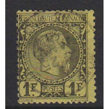 MONACO 1885 1 FRANCO NERO SU GIALLO CARLO III US. Monaco francobolli filatelia stamps
