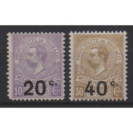 MONACO 1919 SEGNATASSE 2 VAL. SOPRASTAMPATI 20 SU 10c. G.I.**-40 SU 30c. G.O.* Monaco francobolli filatelia stamps