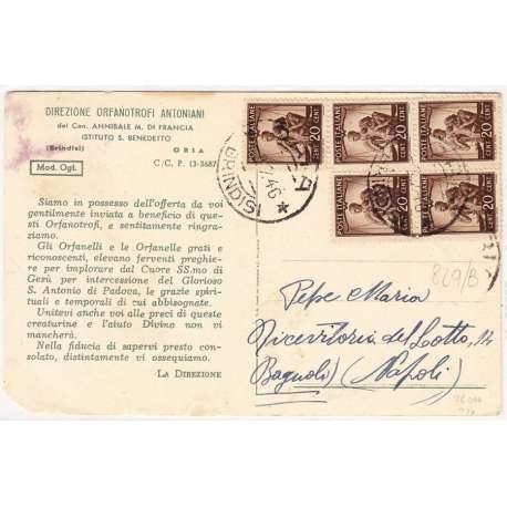 1945-48 DEMOCRATICA 20 c. BRUNO n.544 X5 SU CARTOLINA US. repubblica italiana francobolli filatelia stamps