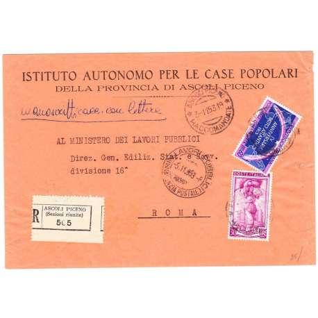 1953 60 L. PATTO ATLANTICO + LAVORO 30 L. SU BUSTA TIMBRO ARRIVO US. repubblica italiana francobolli filatelia stamps