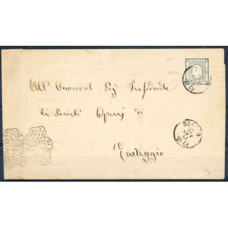 1861 SARDEGNA 2 c. NERO VERDASTRO n.20c BEN MARGINATO SU BUSTA FIRMATA Sardegna francobolli filatelia stamps