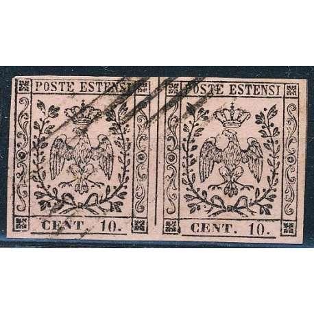 1852 MODENA 10 c. ROSA VIVO PUNTO DOPO CIFRE n.9a IN COPPIA US. Modena e Parma francobolli filatelia stamps