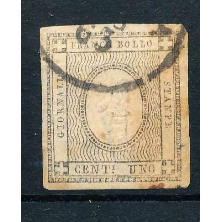 1861 SARDEGNA 1 c. GRIGIO BRUNASTRO n.19c TRACCE OSSIDO US. Sardegna francobolli filatelia stamps