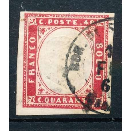 1855 SARDEGNA 40 c. VERMIGLIO ROSA n.16c US. Sardegna francobolli filatelia stamps
