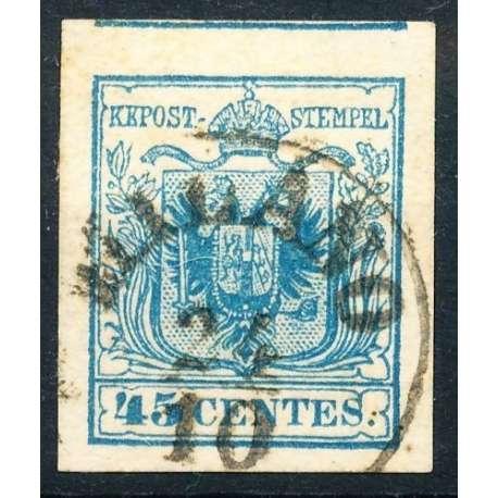 1850 LOMBARDO VENETO 45 c. AZZURRO OLTREMARE n.12c US. Lombardo Veneto francobolli filatelia stamps