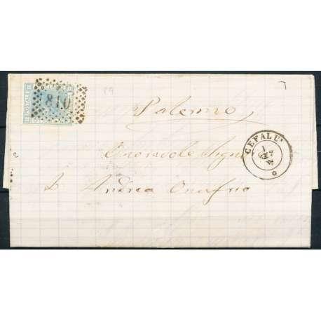 1867 V.E.II 20 c. CELESTE CHIARO L26 LONDRA SU BUSTA FIRMATA ANNULLO P.9 US. regno d' Italia francobolli filatelia stamps