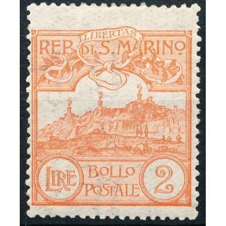 1921-23 VEDUTA 2 L. ARANCIO n.81 BEN CENTRATO G.O. MH* San Marino francobolli filatelia stamps