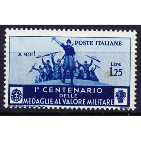 1934 MEDAGLIE AL VALORE 1,25 L. AZZURRO n.373 MACCHIA G.I. MNH** regno d' Italia francobolli filatelia stamps
