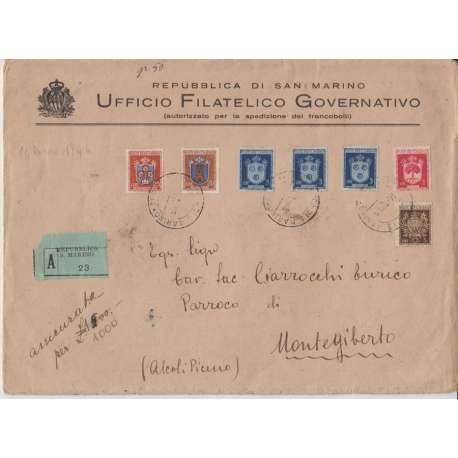 1946 7 VAL. DELLA SERIE STEMMI SU BUSTA ASSICURATA CON ANNULLO D'ARRIVO San Marino francobolli filatelia stamps