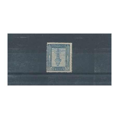 LIBIA 1924-29 PITTORICA 25c. CON CENTRO CAPOVOLTO (PICCOLA FALLA DI GOMMA) G.I. Colonie francobolli filatelia stamps