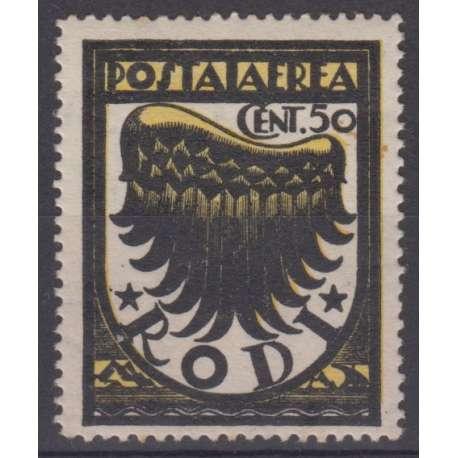 EGEO 1937 50 c. III TIR. FIL. CORICATA + DOPPIE LETTERE (SAS. 30/I) G.I. CERTIF. Colonie francobolli filatelia stamps