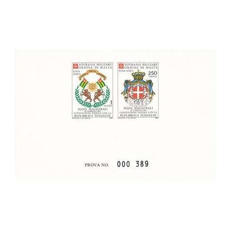 SMOM: FOGLIETTO DI PROVA DI 2 FRANCOBOLLI DI P.A 1983 FOTO DIENA S.M.O.M. francobolli filatelia stamps
