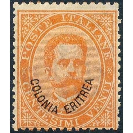 1893 ERITREA UMBERTO I 20 c. ARANCIO n.5 G.I. MNH** Colonie francobolli filatelia stamps