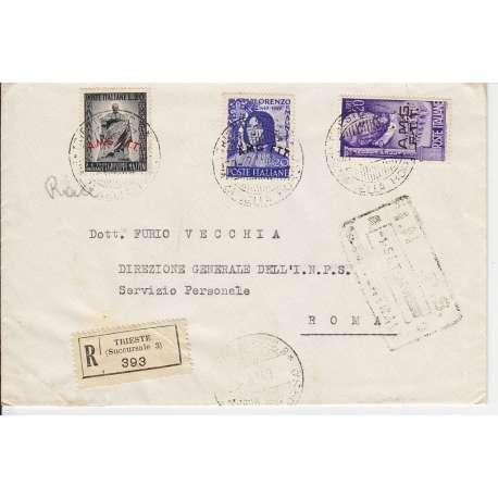 "1949 TRIESTE ""A"" 20 L. PALLADIO + Nn. 47-49-50 (SAS.) SU BUSTA VIAGGIATA US. Colonie e Occupazioni francobolli filatelia stamps"
