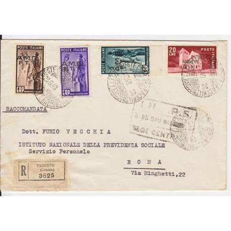 "1949 TRIESTE ""A"" E.R.P. 3 V. S.7 + 20 L. n.42 S. SU BUSTA VIAGGIATA Colonie e Occupazioni francobolli filatelia stamps"