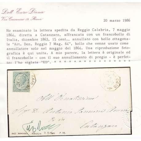 15 c. DA REGGIO PER CATANZARO CON RARO BOLLO OTTAGONALE RARISSIMO E CERTIFICATO regno d' Italia francobolli filatelia stamps