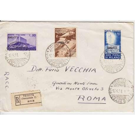 "1951 TRIESTE ""A"" FIERA MILANO 2 V. S.17 + 20 L. ARA P. n.111 SU BUSTA VIAGGIATA Colonie e Occupazioni francobolli filatelia ..."