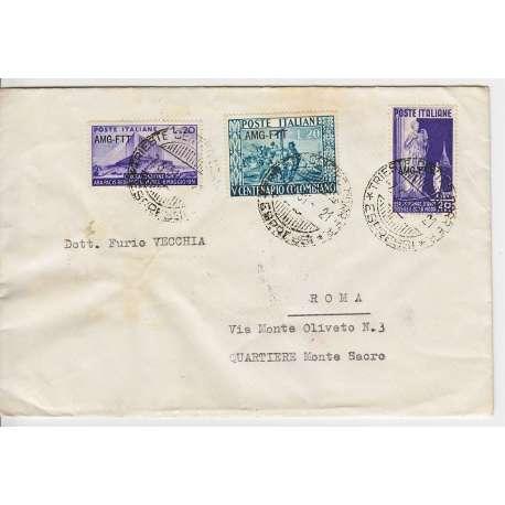 """1951 TRIESTE """"A"""" CRISTOFORO COLOMBO 20 L. n.115 + Nn. 111-114 SU BUSTA VIAGGIATA Colonie e Occupazioni francobolli filatelia..."""