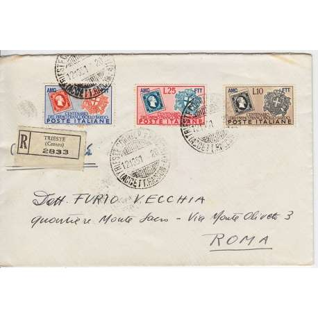 "1951 TRIESTE ""A"" CENT. FRANCOBOLLI SARDEGNA 3 V. S.22 SU BUSTA VIAGGIATA 2 Colonie e Occupazioni francobolli filatelia stamps"