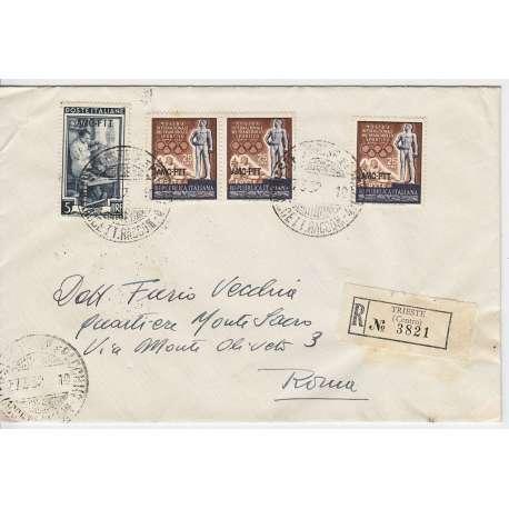 """1952 TRIESTE """"A"""" MOSTRA FRANCOBOLLO SPORTIVO 3X 25 L. n.142 SU BUSTA VIAGGIATA Colonie e Occupazioni francobolli filatelia s..."""