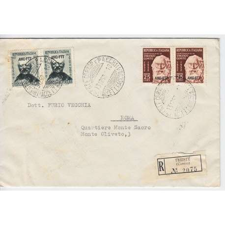 """1952 TRIESTE """"A"""" MANCINI 25 L. n.161 + GEMITO n.162 SU BUSTA VIAGGIATA Colonie e Occupazioni francobolli filatelia stamps"""