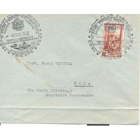 """1952 TRIESTE """"A"""" 25 L ITALIA AL LAVORO N. 98 SU BUSTA Colonie e Occupazioni francobolli filatelia stamps"""