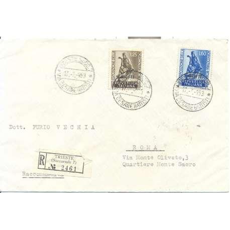 """1953 TRIESTE """"A"""" SERIE COMPLETA S.31 AGRICOLTURA A ROMA SU BUSTA VIAGGIATA Colonie e Occupazioni francobolli filatelia stamps"""