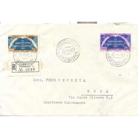 """1953 TRIESTE """"A"""" PATTO ATLANTICO 2 V. S.32 SU BUSTA VIAGGIATA Colonie e Occupazioni francobolli filatelia stamps"""