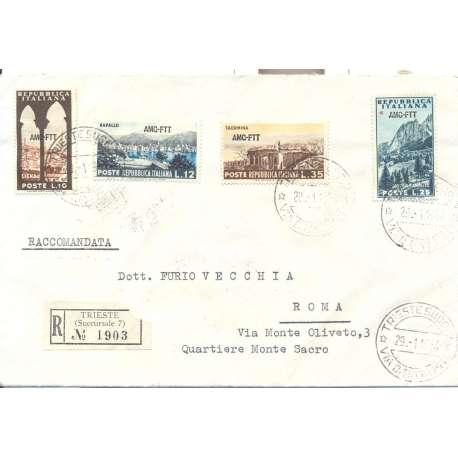 "1954 TRIESTE ""A"" SERIE TURISTICA 4 V. 10 L, 12 L, 25 L, 35 L SU BUSTA VIAGGIATA Colonie e Occupazioni francobolli filatelia ..."