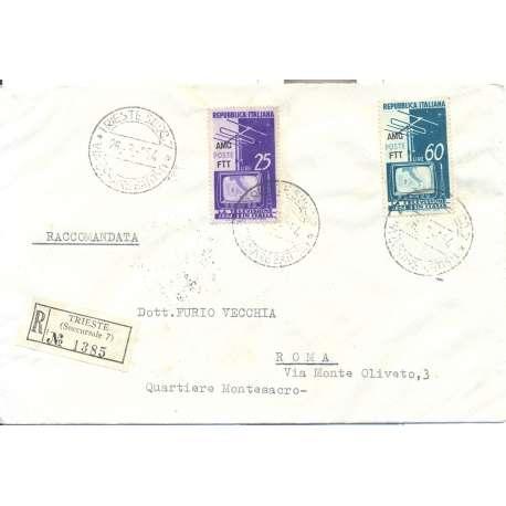 """1954TRIESTE """"A"""" SERIE TELEVISIONE NAZIONALE S.35 SU BUSTA VIAGGIATA Colonie e Occupazioni francobolli filatelia stamps"""