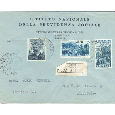 "1954 TRIESTE ""A"" FIERA 2 V. S36 + 25 L A.CATALANI n203 SU BUSTA VIAGGIATA Colonie e Occupazioni francobolli filatelia stamps"
