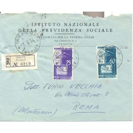 """1954 TRIESTE """"A"""" SERIE COMPLETA TELEVISIONE NAZIONALE S.35 SU BUSTA VIAGGIATA Colonie e Occupazioni francobolli filatelia st..."""