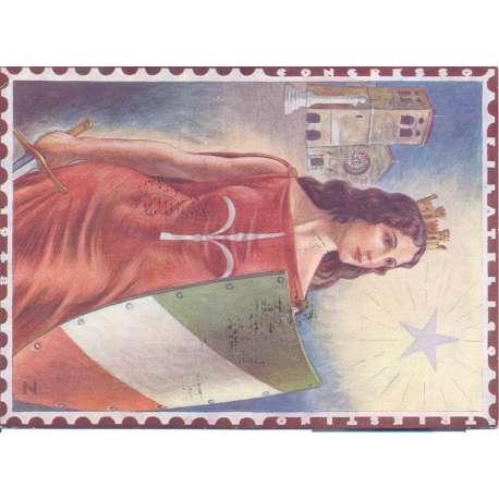 """1948 TRIESTE """"A"""" 10 L. ROSSO POSTA AEREA A17 + 8 L. VERDE N.30 SU CARTOLINA Colonie e Occupazioni francobolli filatelia stamps"""