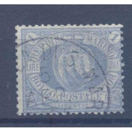 1894 1 L. OLTREMARE n.31 STEMMA AZZURRA US. San Marino francobolli filatelia stamps