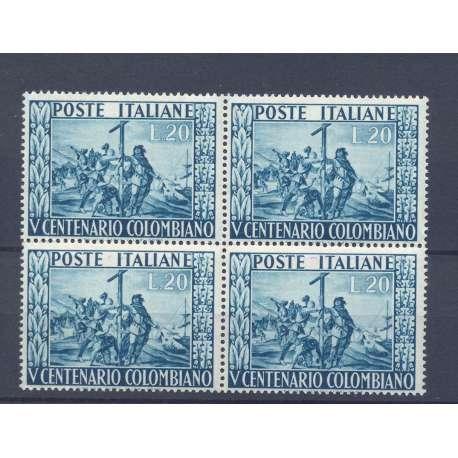 REPUBBLICA 1951 CRISTOFORO COLOMBO 20 L N 660 QUARTINA GOMMA INTEGRA G.I. MNH** repubblica italiana francobolli filatelia st...