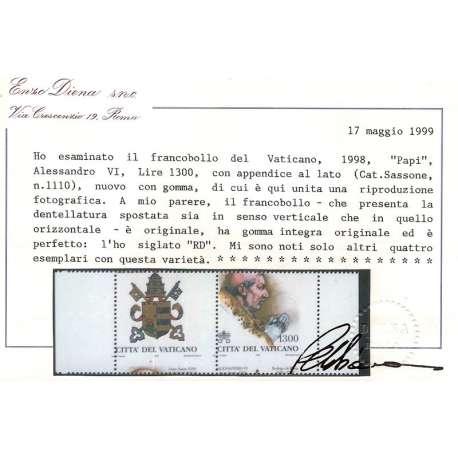 PAPI 1998 DENTELLATURA FORTEMENTE SPOSTATA SOLO 5 ESEMPLARI NOTI!!!! G.I.