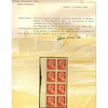 1945 GIULIO CESARE 20 c NOVARA BLOCCO 8 CARTA RICONGIUNTA 537b CERT G.I.MNH** R.S.I. e Luogotenenza francobolli filatelia st...