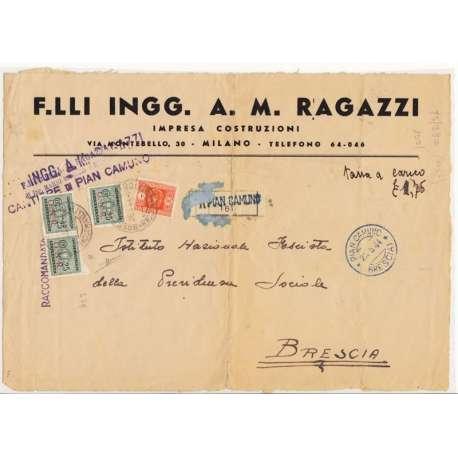 RARA AFFRANCATURA R.S.I. 3 X 25c. TASSE G.N.R. + 1 L. REGNO TIR. BRESCIA FIRMATO