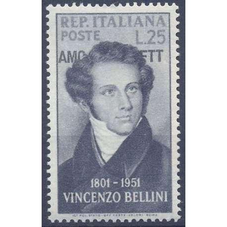 "1952 TRIESTE ""A"" NASCITA VINCENZO BELLINI 25 LIRE N.140 G.I. MNH** Trieste Zona ""A"" francobolli filatelia stamps"