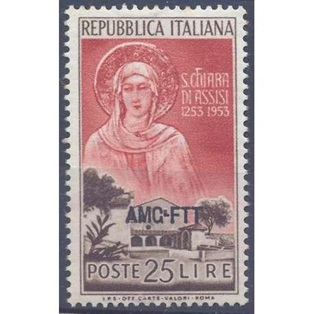 """1953 TRIESTE """"A"""" MORTE SANTA CHIARA 25 LIRE N.177 G.I. MNH** Trieste Zona """"A"""" francobolli filatelia stamps"""
